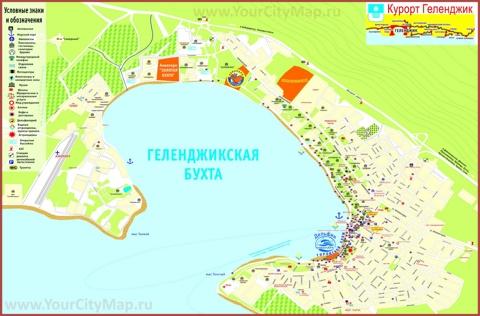Туристическая карта побережья бухты Геленджика