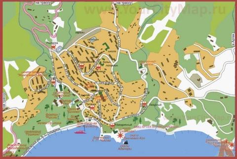 Карта Гурзуфа с санаториями, базами отдыха и пансионатами