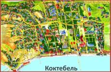 Карта Коктебеля с отелями, турбазами и гостиницами
