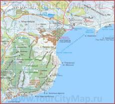 Карта Коктебеля с окрестностями и пляжами