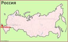 Коктебель на карте России