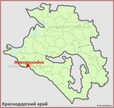 Новороссийск на карте Краснодарского Края