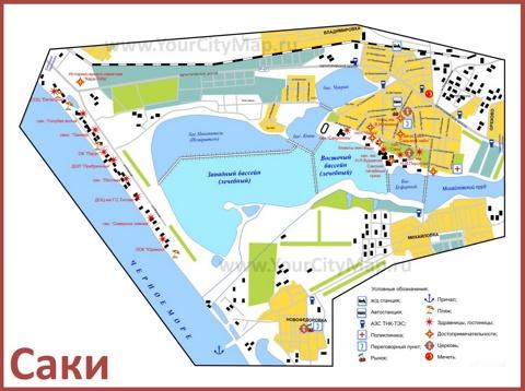 Туристическая карта Сак с отелями и достопримечательностями