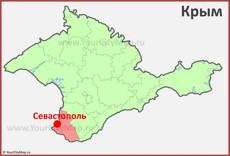 Севастополь на карте Крыма