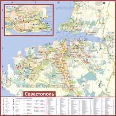 Туристическая карта Севастополя с отелями и маршрутами транспорта