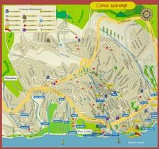Карта Сочи с отелями и пансионатами