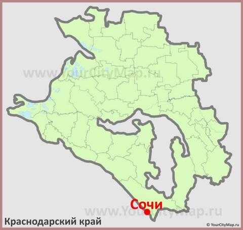 Сочи на карте Краснодарского Края