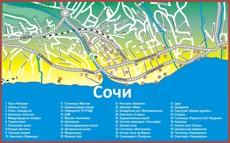 Туристическая карта центрального Сочи