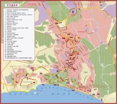 Карта пансионатов Судака