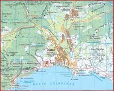 Карта Судака с окрестностями