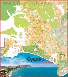 Подробная карта Судака с улицами и домами