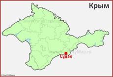 Судак на карте Крыма