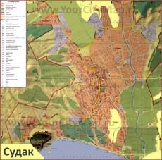 Туристическая карта Судака с отелями, достопримечательностями и пляжами