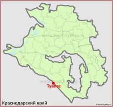 Туапсе на карте Краснодарского Края