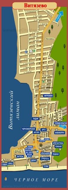 Карта Витязево с гостевыми домами и отелями