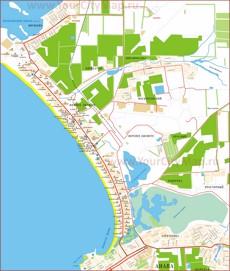Подробная карта побережья Витязево с отелями и базами отдыха