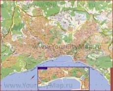 Карта Ялты с санаториями и пляжами