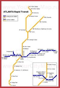 Карта метро Атланты (Схема)