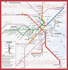 Карта метро Бостона (схема)