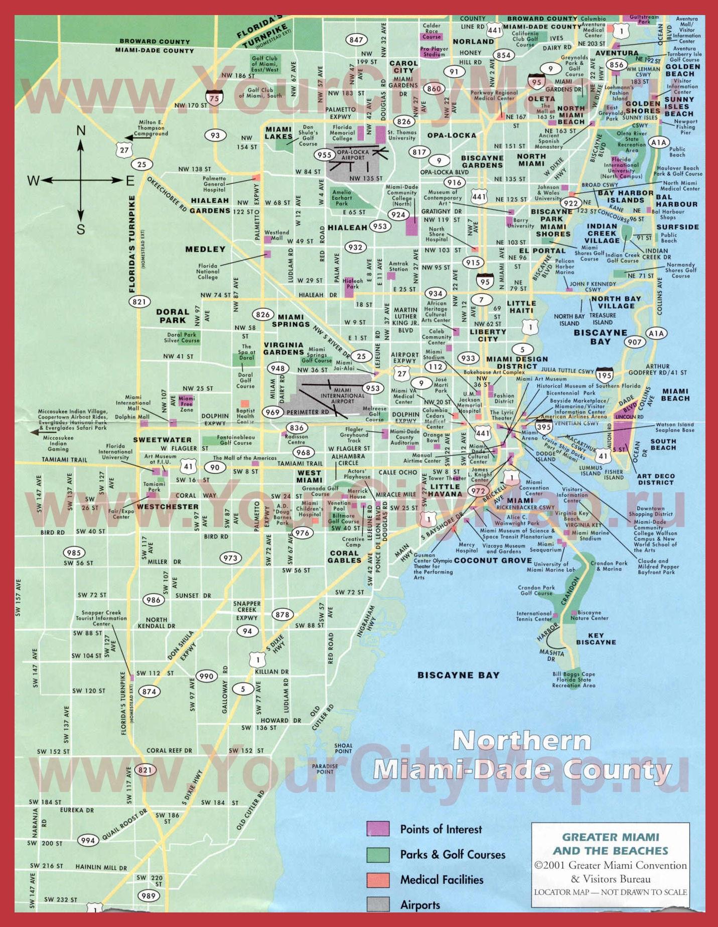 Карта города майами
