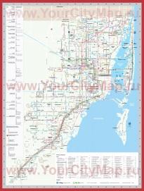 Подробная карта Майами с достопримечательностями
