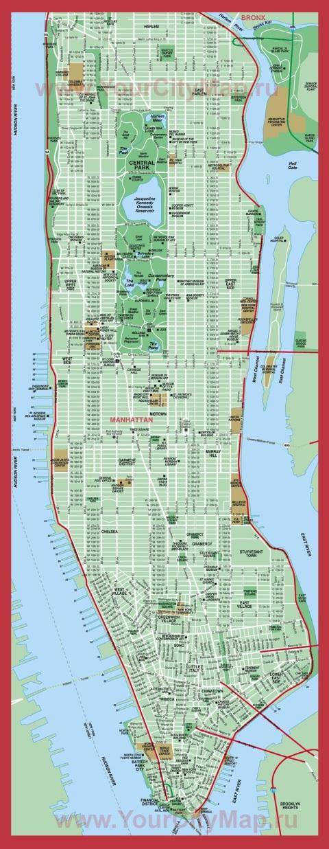 Карта Манхеттена с достопримечательностями -  Нью-Йорк