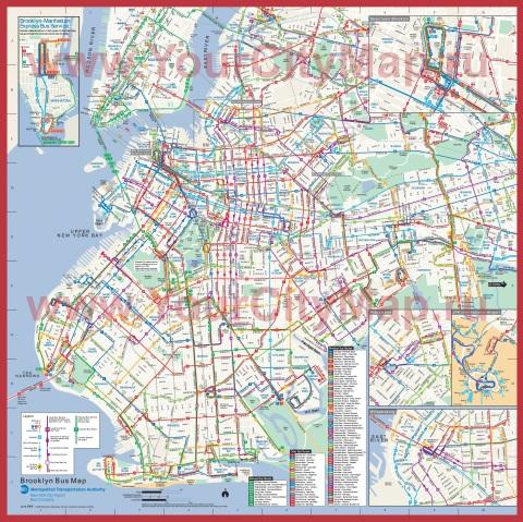 Подробная карта Бруклина - Нью-Йорк