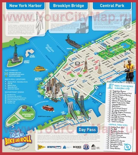 Туристическая карта города Нью-Йорк