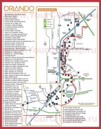 Карта Орландо с отелями