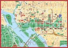 Карта города Вашингтон с достопримечательностями