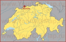 Базель на карте Швейцарии