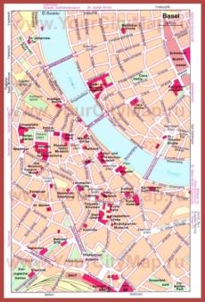 Карта Базеля с достопримечательностями