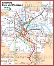 Схема маршрутов транспорта Базеля
