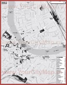 Туристическая карта Базеля с отелями и ресторанами