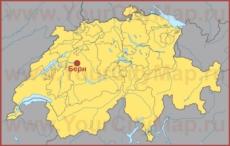 Берн на карте Швейцарии