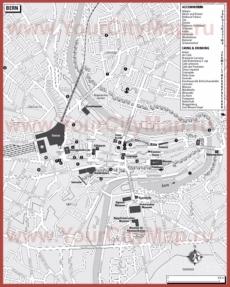 Туристическая карта Берна с отелями и ресторанами