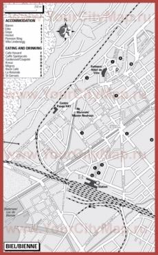 Туристическая карта Биля с отелями и ресторанами