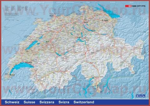 Города Швейцарии на карте