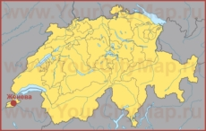 Женева на карте Швейцарии