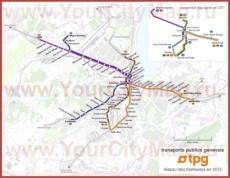 Карта маршрутов транспорта Женевы