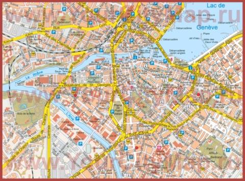 Туристическая карта Женевы с достопримечательностями