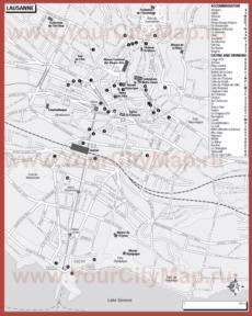 Туристическая карта Лозанны с отелями и ресторанами