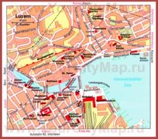 Карта Люцерна с достопримечательностями