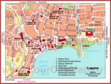 Карта Лугано с достопримечательностями