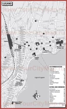 Туристическая карта Лугано с отелями и ресторанами