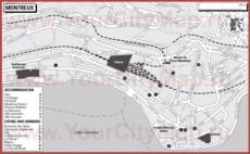 Туристическая карта Монтрё с отелями и ресторанами