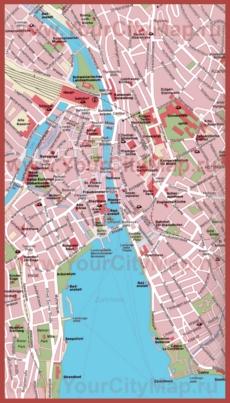 Карта Цюриха с достопримечательностями