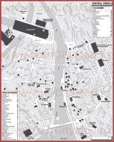 Туристическая карта Цюриха с отелями и ресторанами