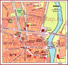 Карта центра Аданы с достопримечательностями