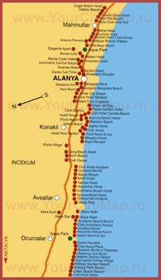 Карта отелей Алании